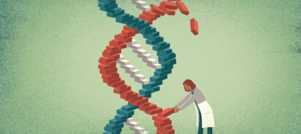 Painting of a large genetic structure with scientist removing a gene