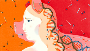 Woman With Genes In Her Hair Graphic